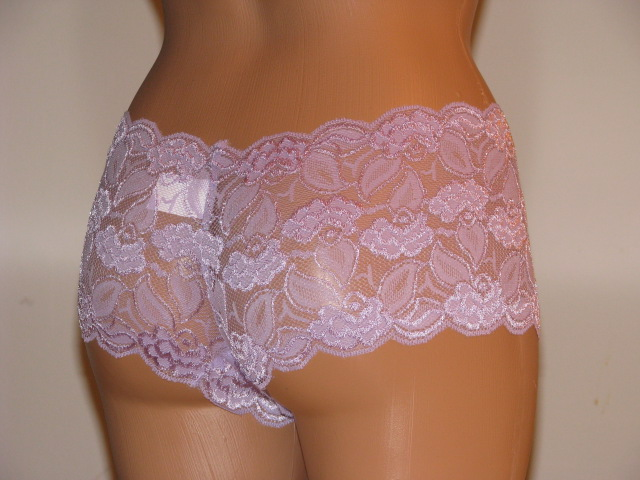 Back view of lavender lace panties.